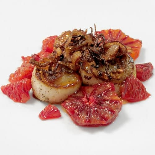 seared scallops with blood orange gastrique and fried shallots