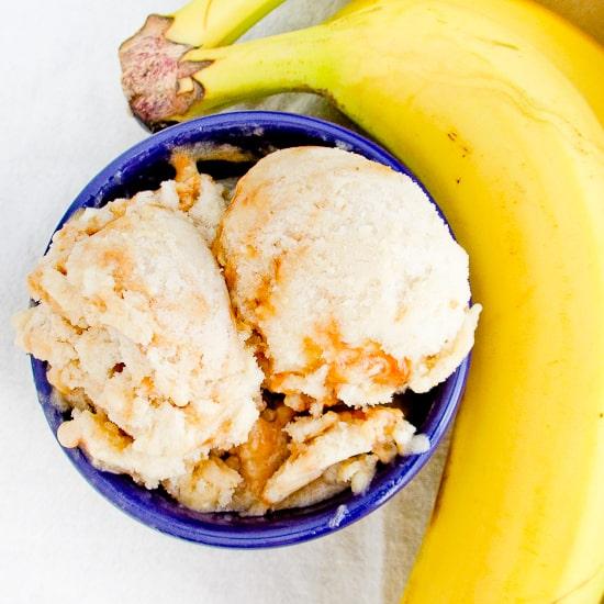 Two-Ingredient Banana Caramel Swirl Ice Cream - Snixy Kitchen