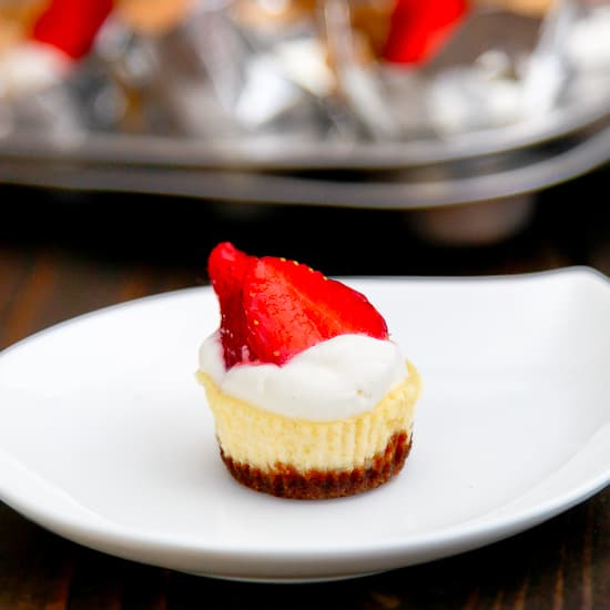 Bite Size Cheese Cake: Gingersnap Strawberry Cheesecake Bites