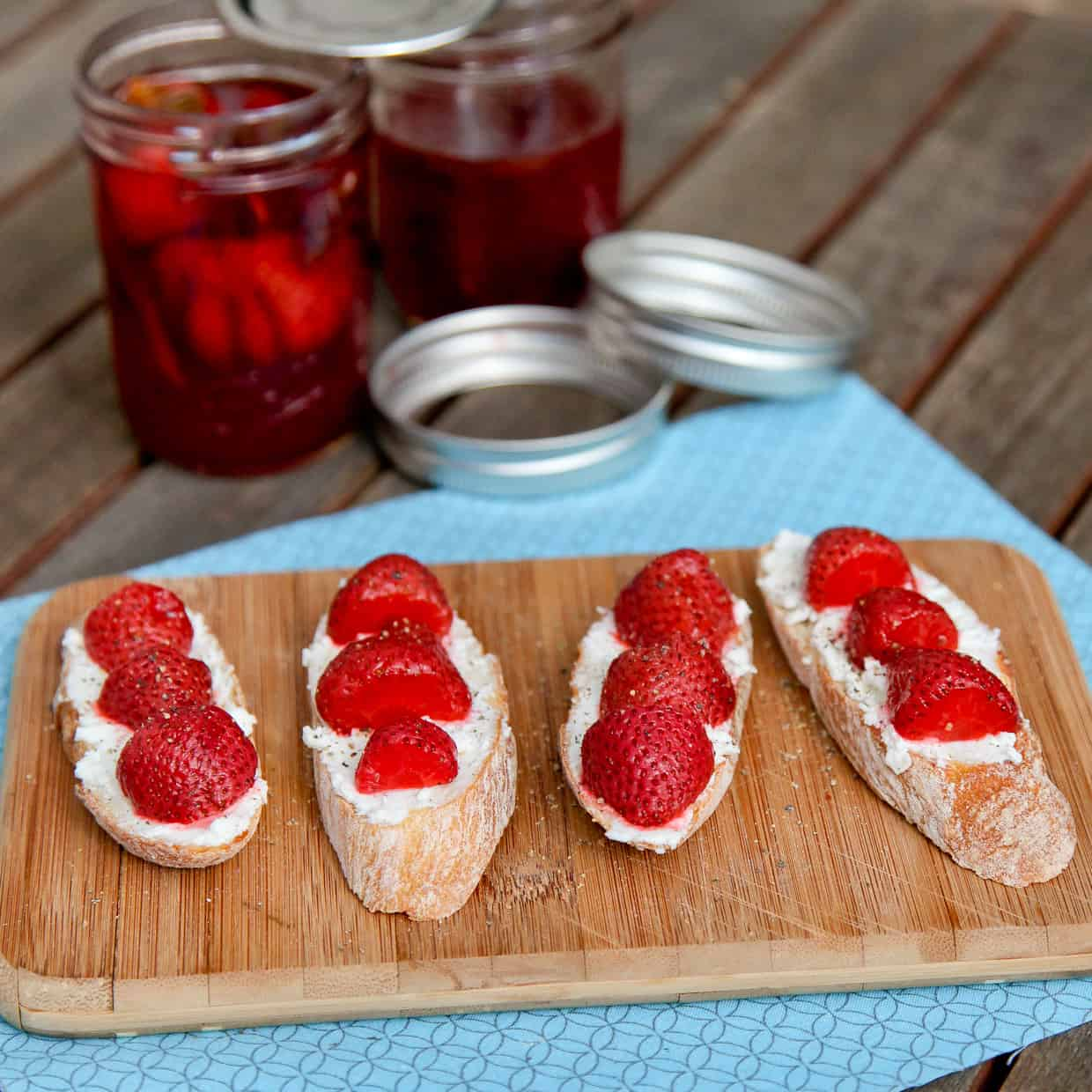 Mint Pickled Strawberries Toast