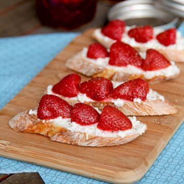 Mint Pickled Strawberries Crostini