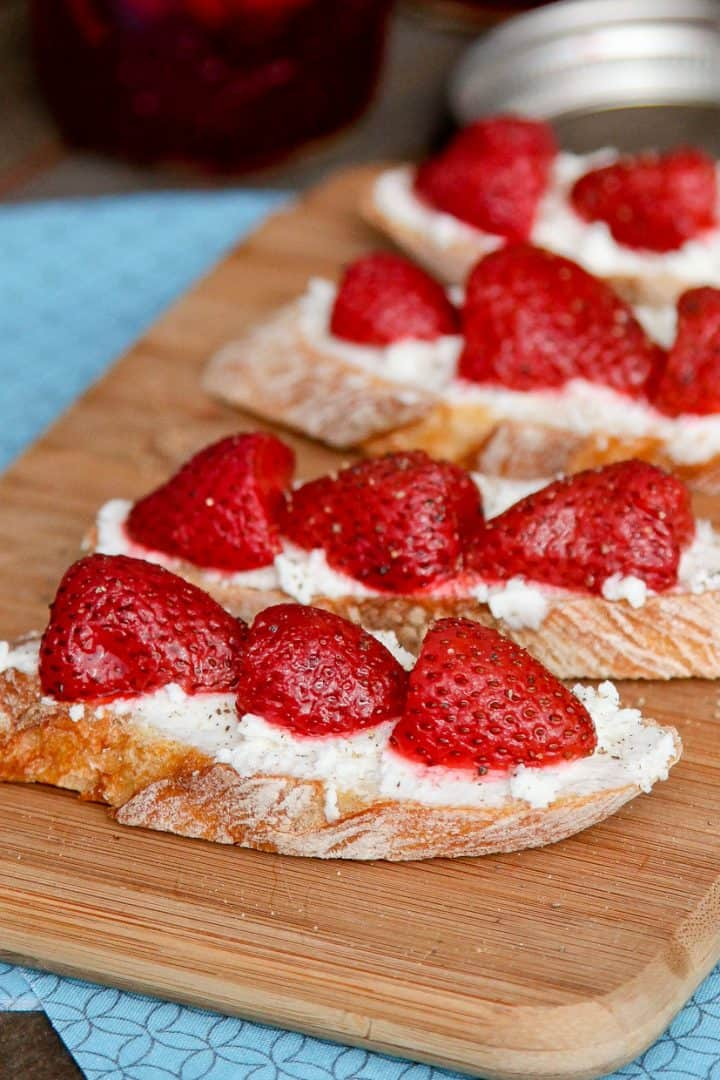 Mint Pickled Strawberries Crostini