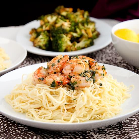 Shrimp Scampi Over Fresh Angel Hair Pasta Snixy Kitchen