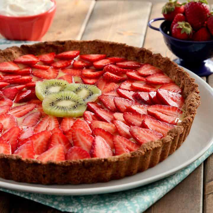 Strawberry lemon curd tart with gluten-free almond crust