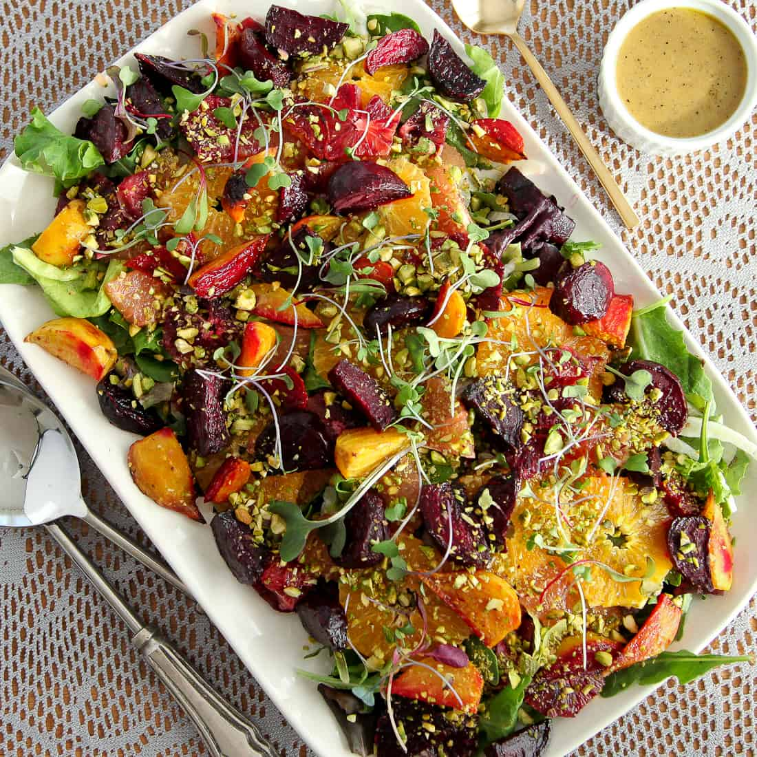 Roasted Beet and Citrus Salad with Mustard Vinaigrette - Snixy Kitchen