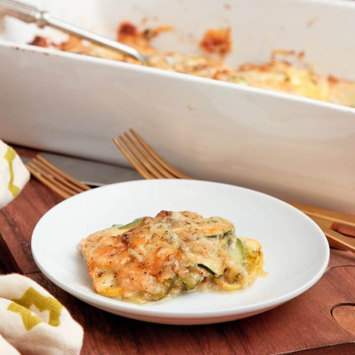 Summer squash gratin with nutmeg béchamel