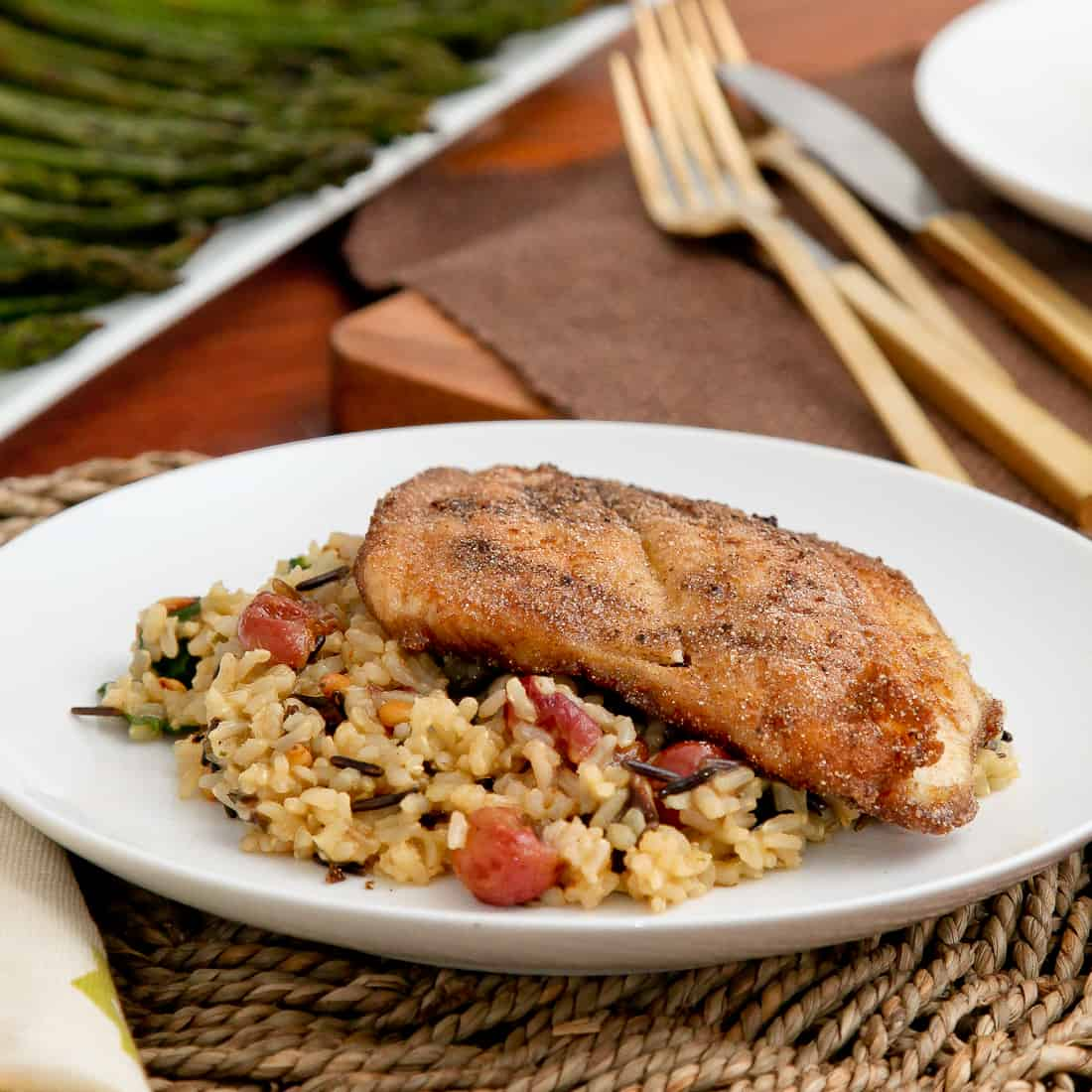 Mixed Wild Rice with Roasted Grapes