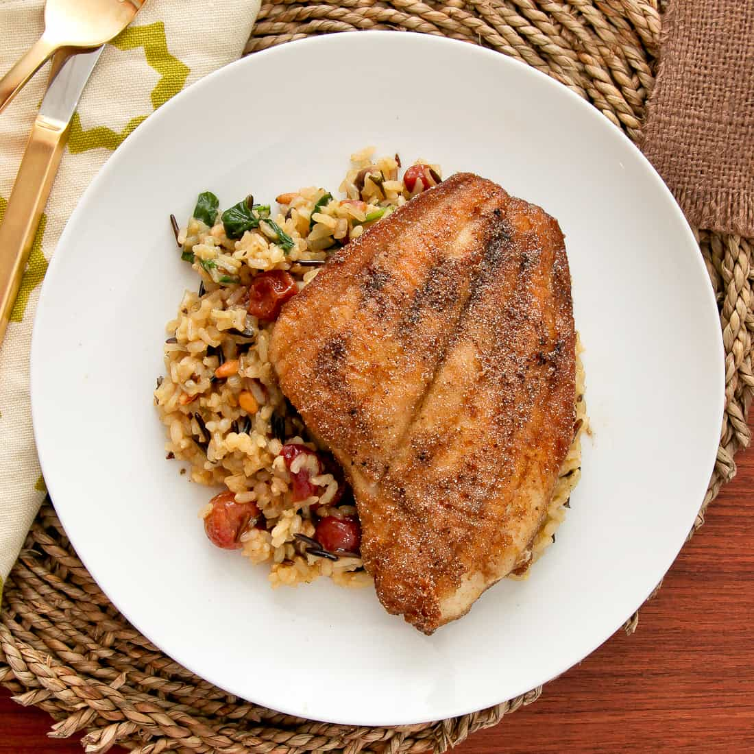 Pan-fried Sole & Mixed Wild Rice with Roasted Grapes