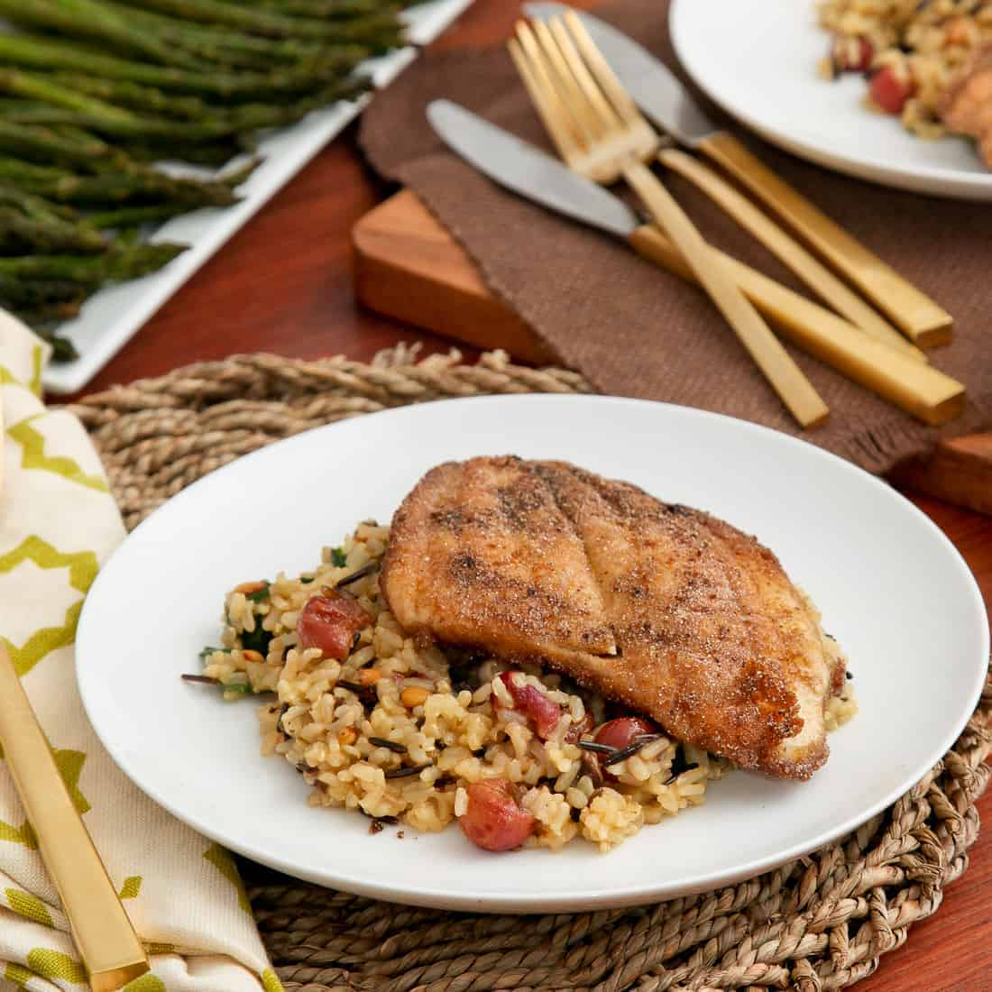 Sole & Mixed Wild Rice with Roasted Grapes