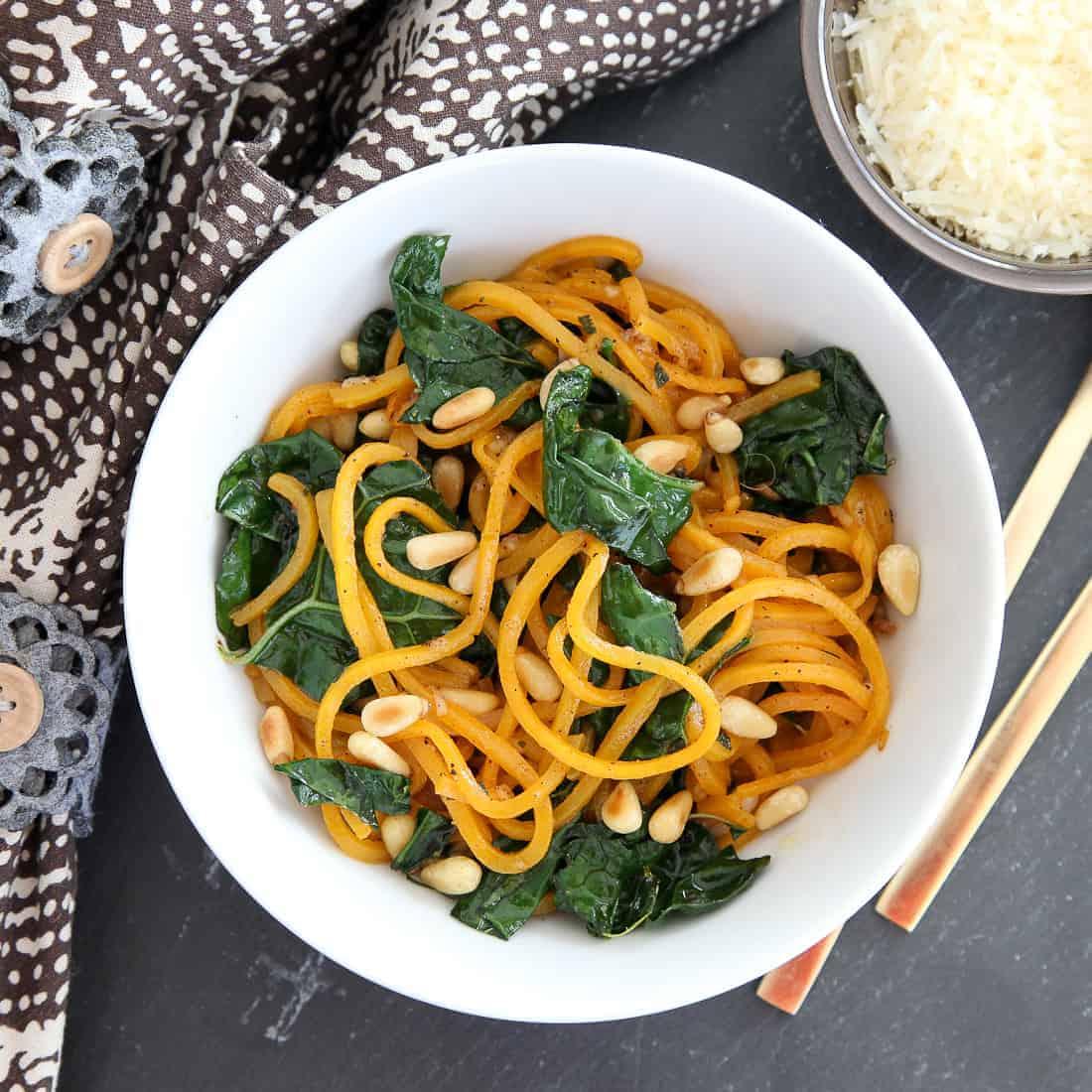 Butternut squash noodles with kale
