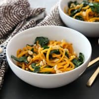 Butternut squash noodles with brown butter and kale