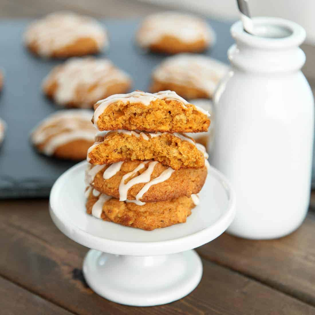 Iced Oatmeal Pumpkin Spiced Cookies - Snixy Kitchen