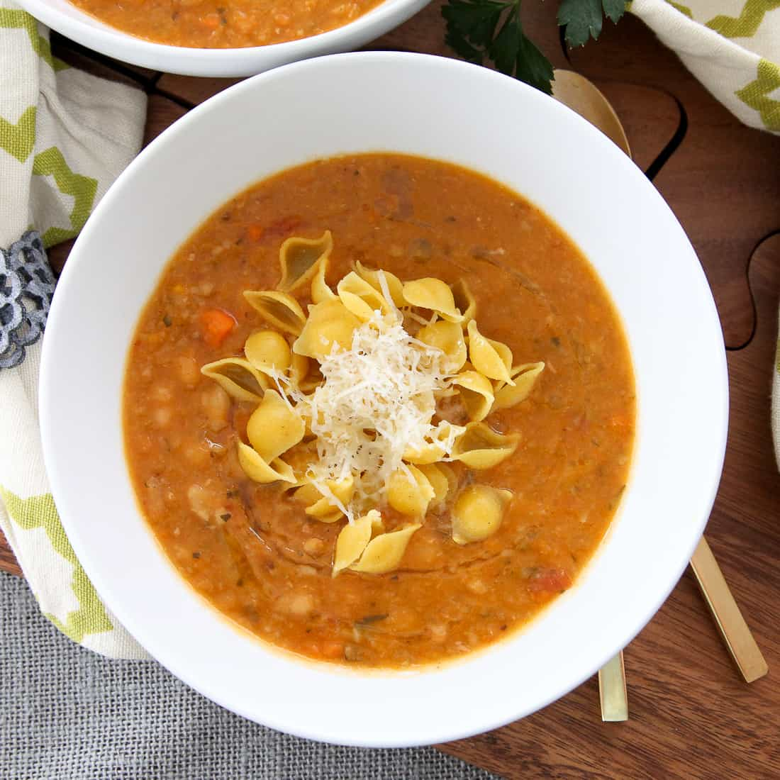 White Bean Soup with Rosemary Oil & Pasta