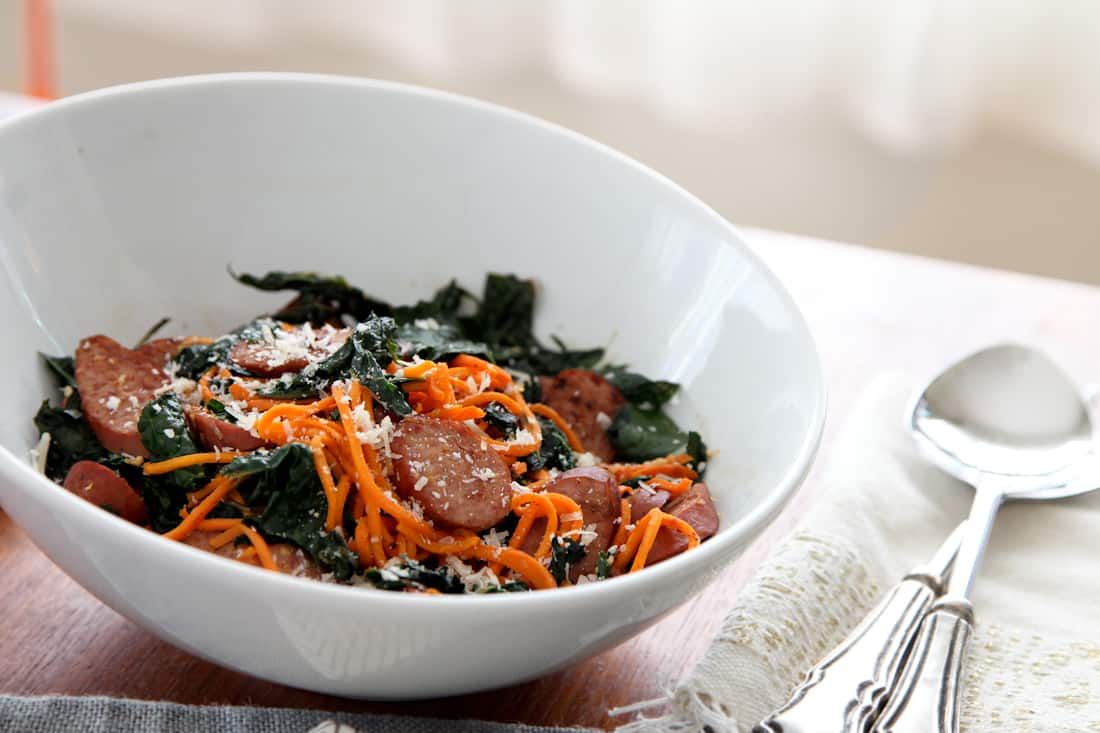 Sweet Potato Skillet Pasta with Sausage & Kale