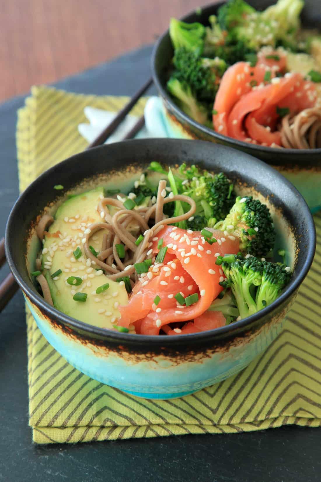 Smoked salmon soba bowl with broccoli