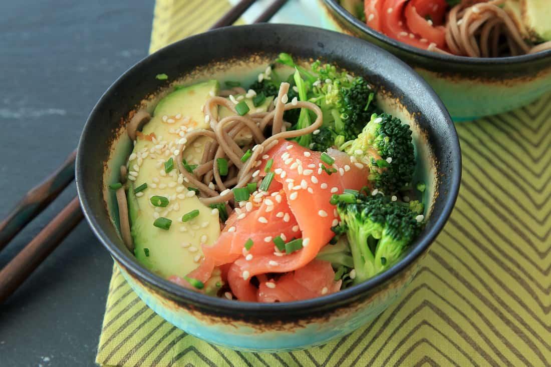 Smoked salmon soba bowl - Snixy Kitchen