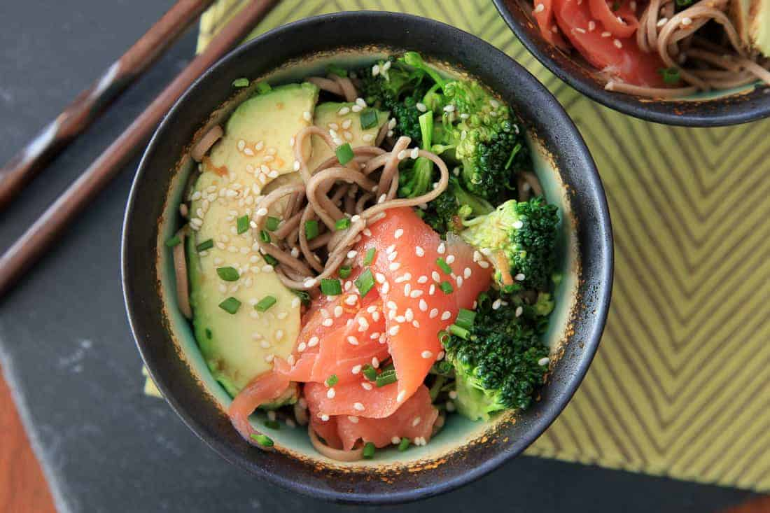 Smoked salmon soba bowl with avocado & broccoli