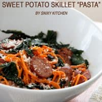 Smoked sausage sweet potato skillet pasta