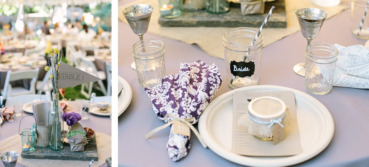 put together the centerpieces using a hodgepodge of random things: