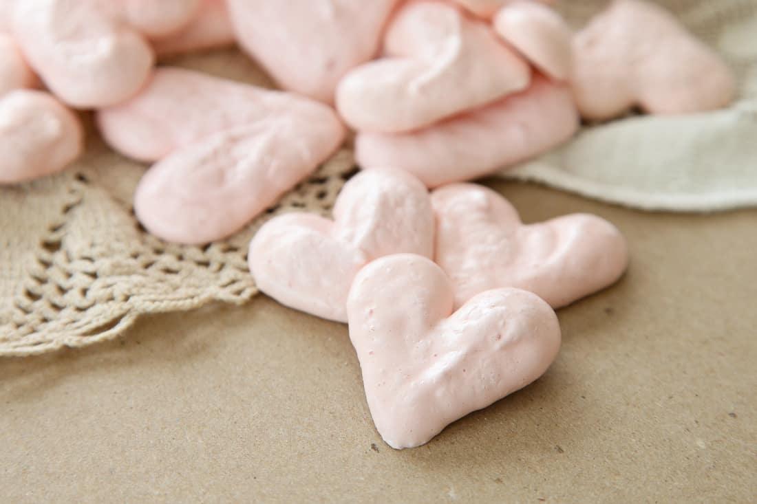 Pink Heart Meringues