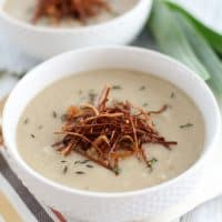 Sunchoke soup with caramelized shallots and roasted enoki mushrooms