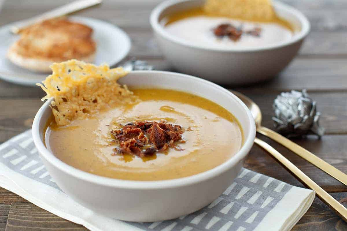 Butternut Squash Soup with Parmesan Crisps
