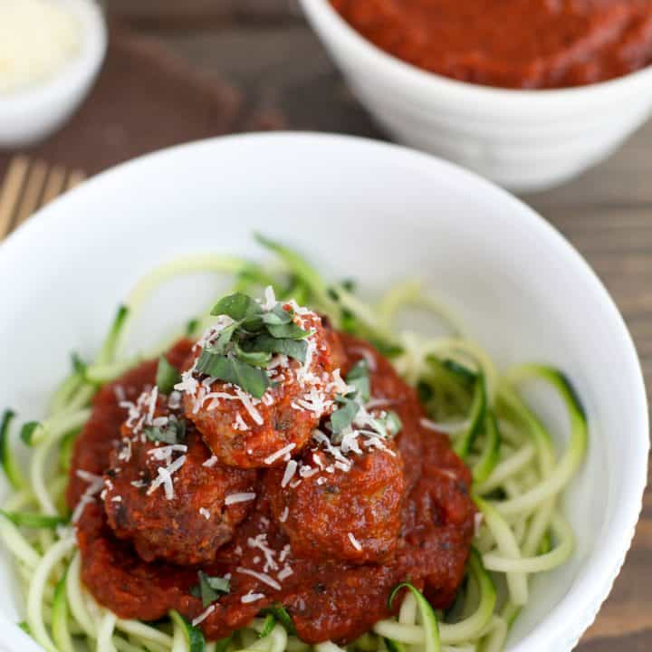 Sun-dried tomato, basil, and mozzarella turkey meatballs with zucchini spaghetti