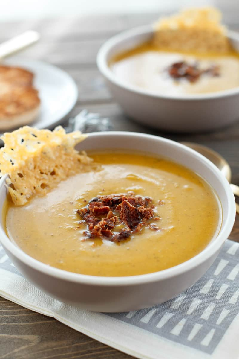 Butternut Squash Soup with Parmesan Crisps - Snixy Kitchen