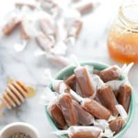 Salted honey lavender caramels