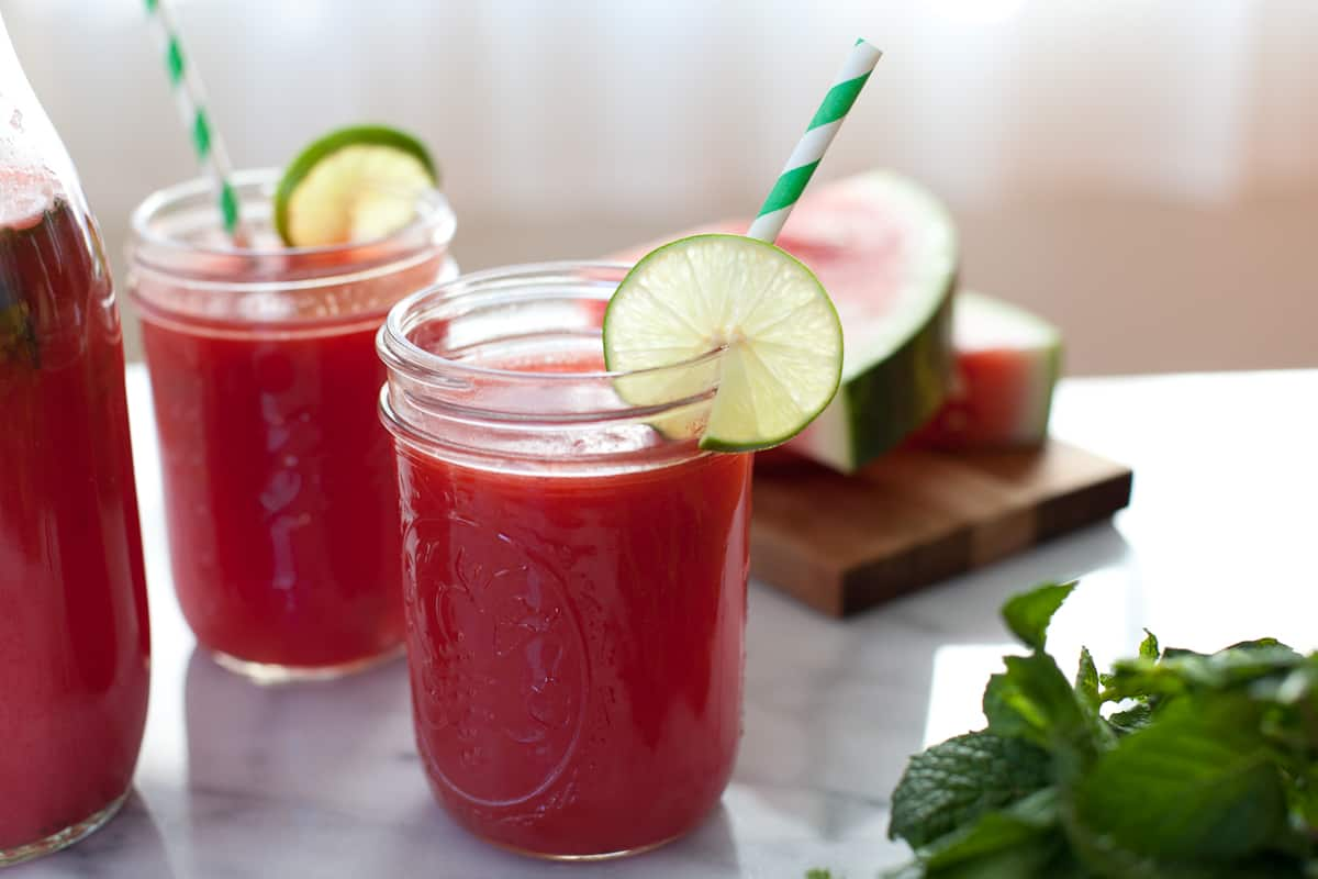 Watermelon mint agua fresca with lime