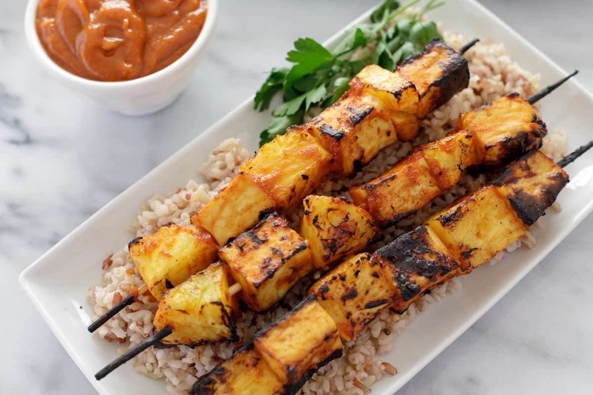 Pineapple Tofu Skewers with Rice
