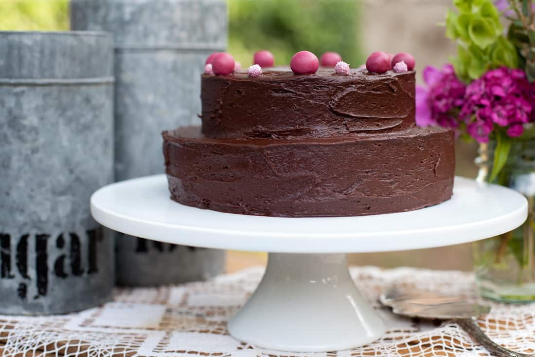 Gluten-free deep chocolate layer cake with chocolate buttercream