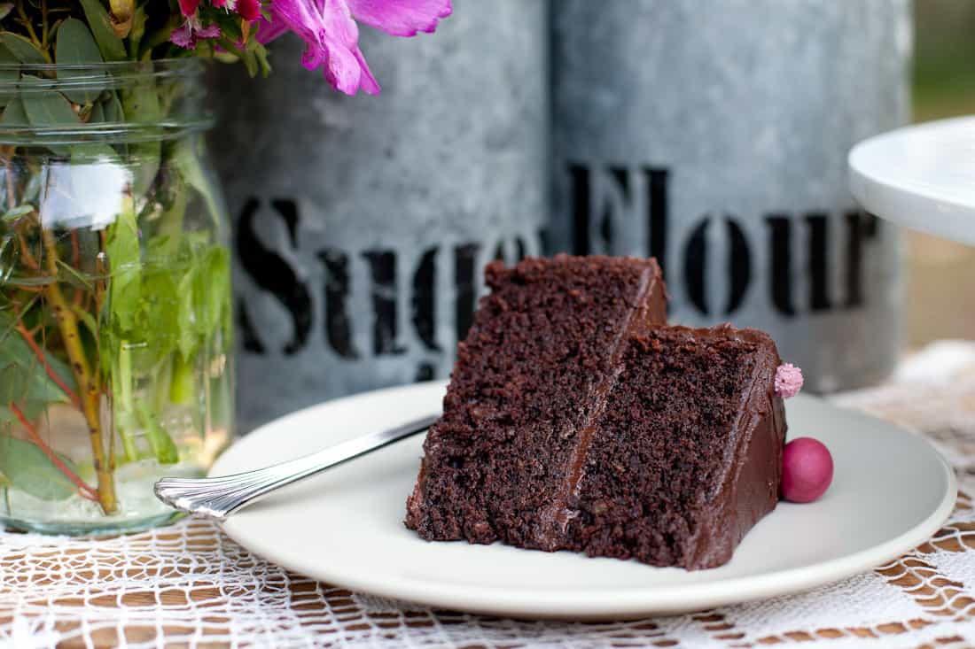 Slice of gluten-free deep chocolate layer cake