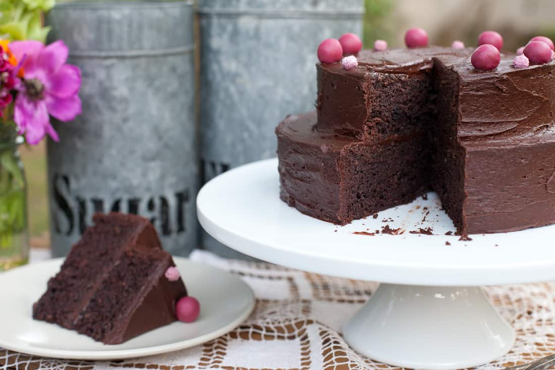 Gluten-free deep chocolate layer cake slice