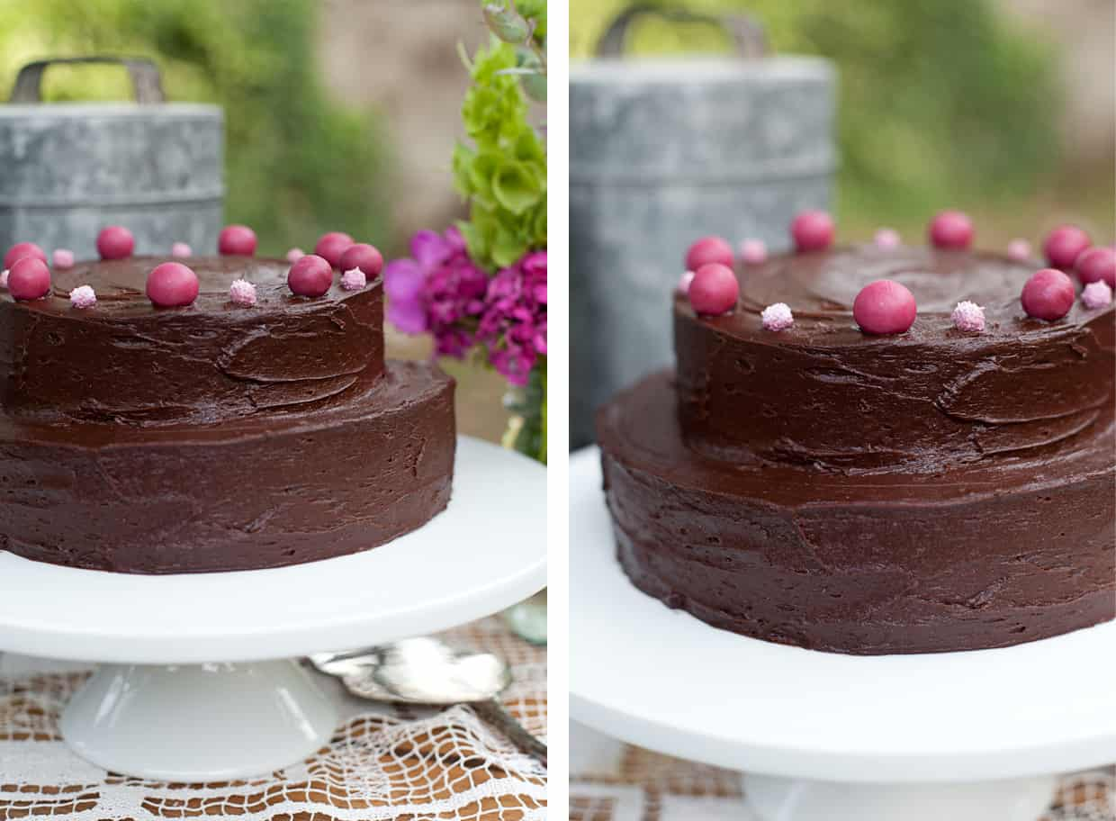 Gluten-free deep chocolate layer cake with marzipan