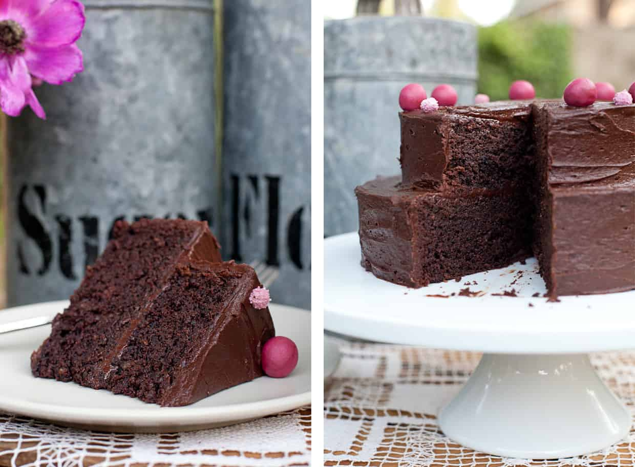 Gluten-free deep chocolate layer cake sliced