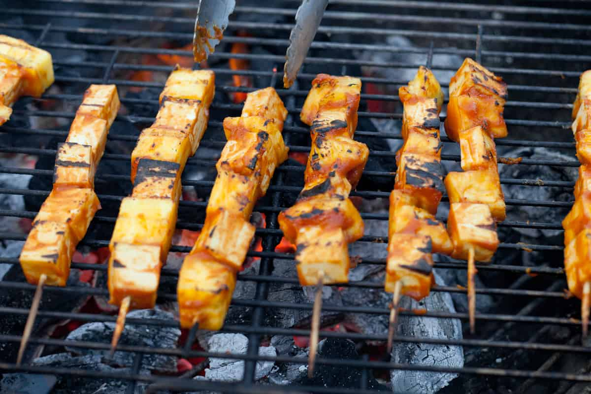 Grilled Pineapple Tofu Skewers with Mango