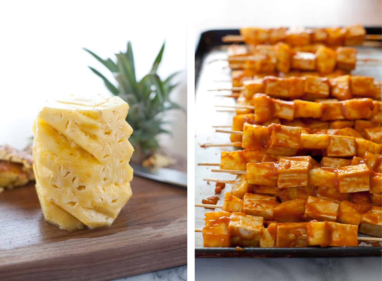 Prepared Grilled Pineapple Tofu Skewers