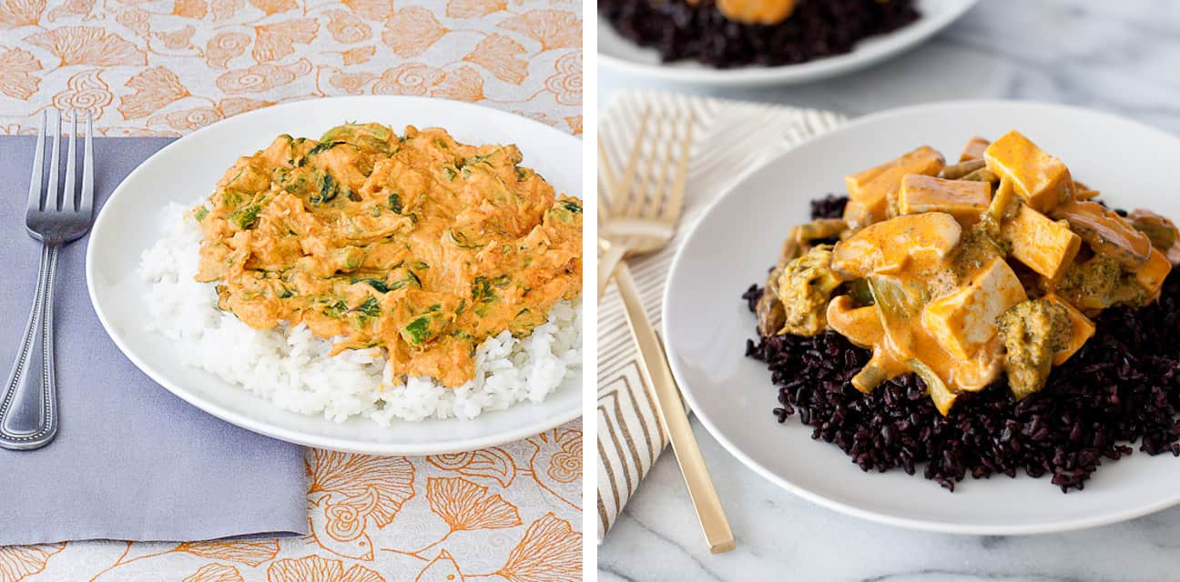 Tofu Thai Curry before & after