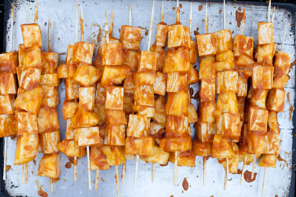 BBQ Grilled Pineapple Tofu Skewers