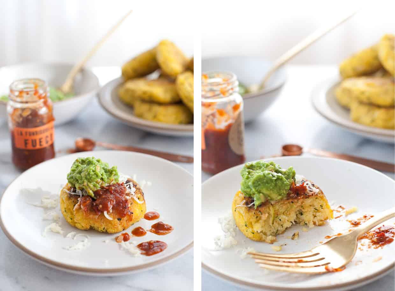 Zucchini Arepas with Salsa & Guacamole