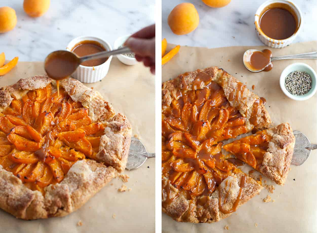 Gluten-free Apricot Galette with caramel
