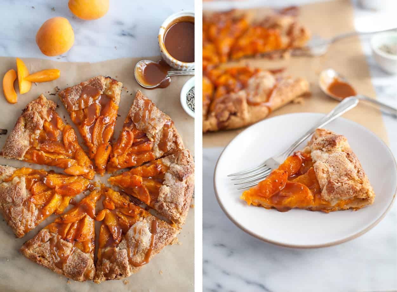 Gluten-free Apricot Galette & caramel sauce