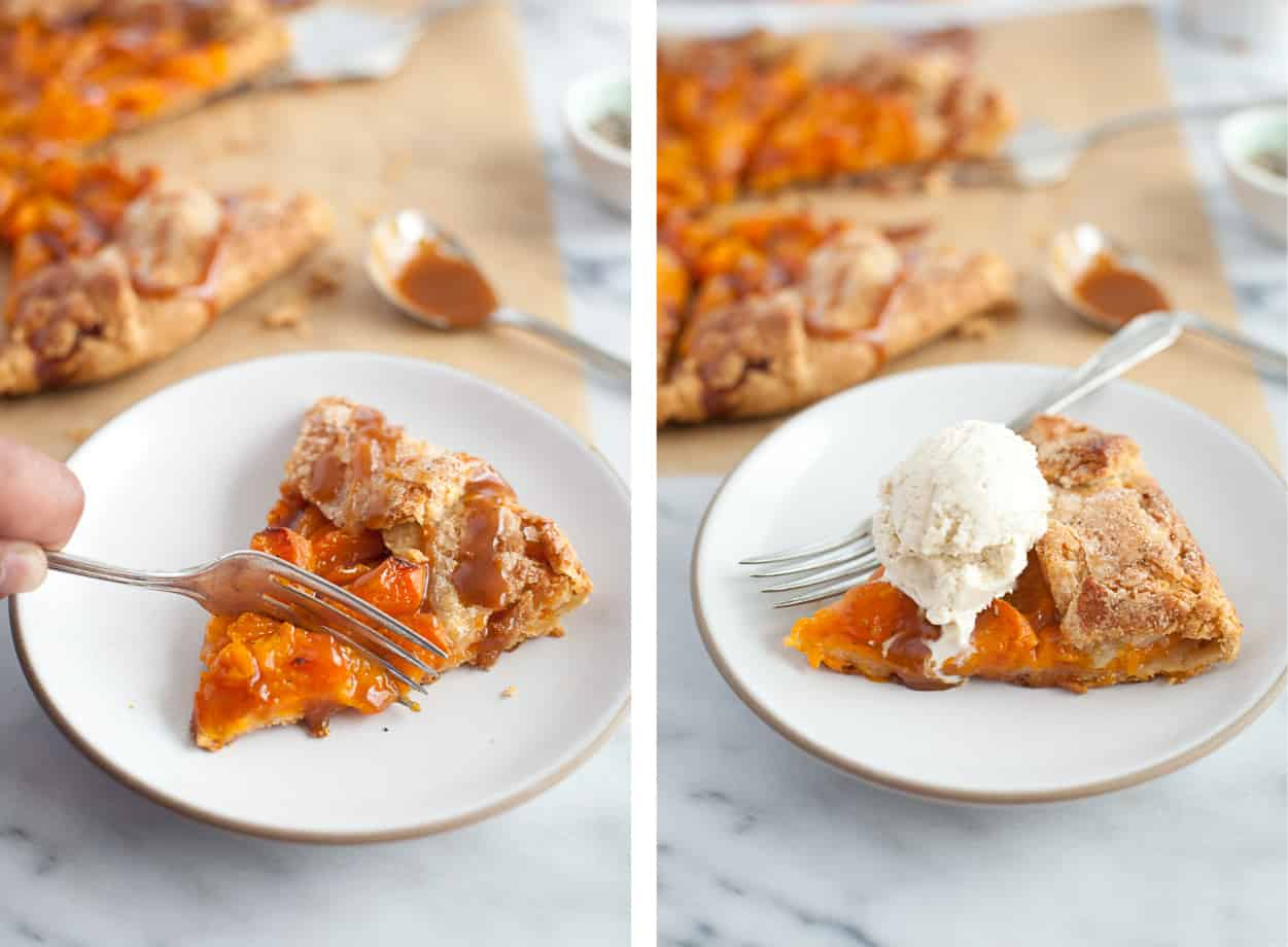 Gluten-free Apricot Galette with ice cream