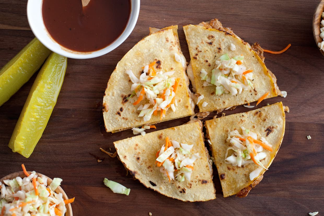 BBQ Pulled Pork Quesadillas & Coleslaw