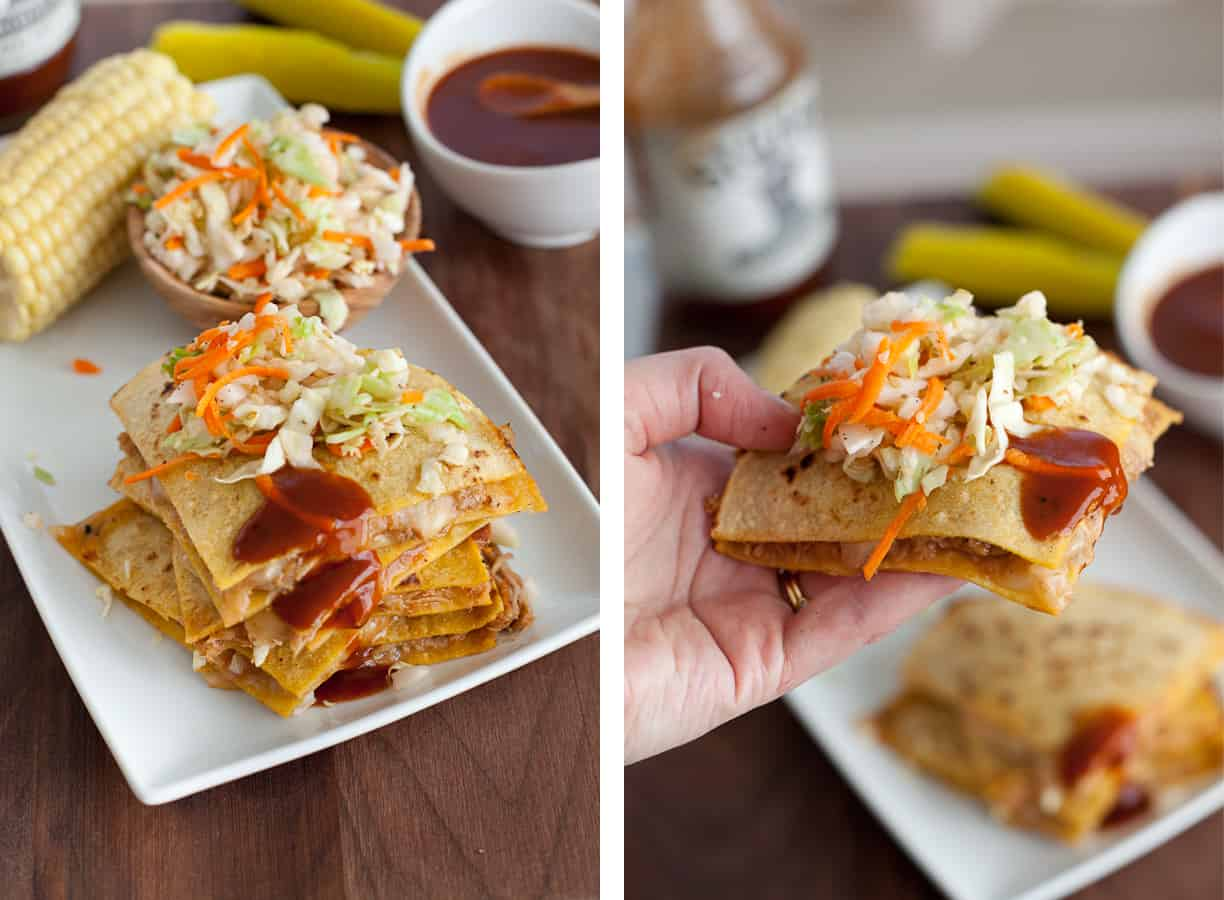 Texas BBQ pulled pork quesadillas with vinegar slaw