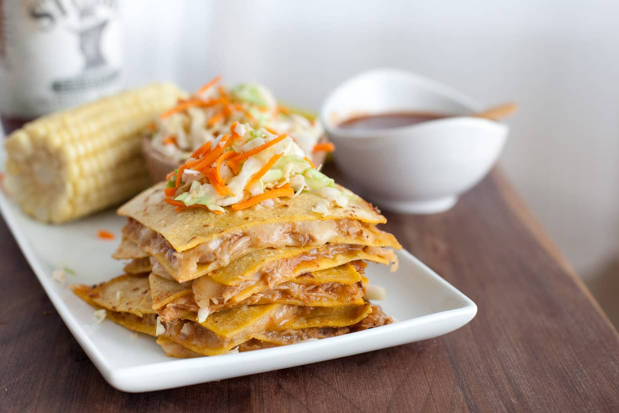 BBQ Pulled Pork Quesadillas with Vinegar slaw
