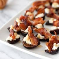 Goat cheese stuffed figs with pancetta