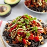 Southwestern black bean spaghetti & avocado crema