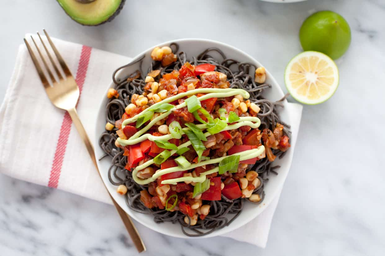 Southwestern Black Bean Spaghetti with Avocado